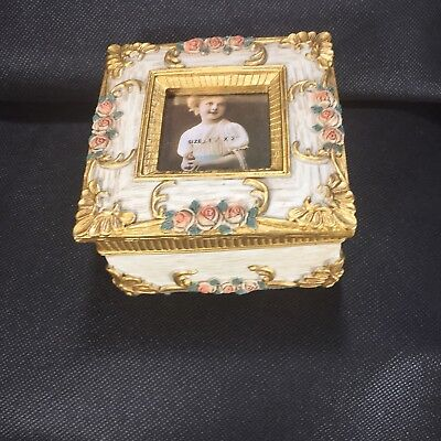Coral Floral Gold White Square Trinket Photo Box Pink New