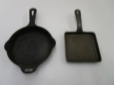 Vintage Griswold No.3mm Cast iron Skillet 2013 & Small Fry No.2 Square Skillet