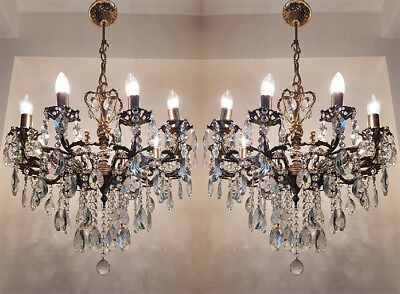 A Pair of Antique 10 arms 10 lights Cast Brass & Crystals Cherub Chandelier from