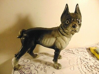 Early Hubley Cast Iron Boston Terrier Doorstop