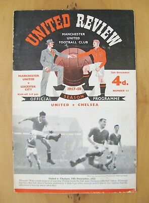 MANCHESTER UNITED v LEICESTER CITY 1957/1958 Good Cond Programme + Token Munich