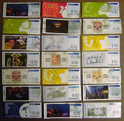 """Faroe Islands """"Postage Labels"""" 21 Different Used F-VF"""