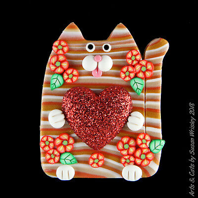 Gold Tan Tabby Kitty Cat, Red Flowers & Big Red Heart Pin - SWris