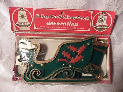 Vintage Plastic Christmas Sleigh Green Collapsible Commodore Hong Kong Original