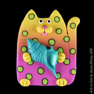 Yellow Orange Pink Lime Spotted Kitty Cat & Blue Seashell Pin - SWris