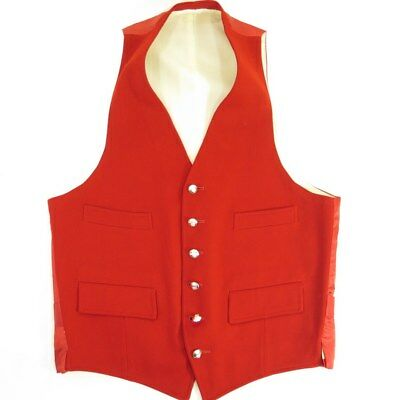 Vintage 50s Waistcoat Vest Small Waist Coat Red Wool Crest Crown England Made