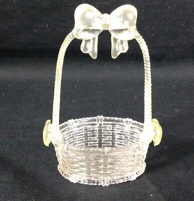 Vintage Rosbro Hard Plastic Easter Basket clear Candy Container Miniature