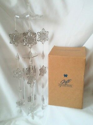 Vintage 2000 Avon Snowflake Wind Chime, Clear Snowflakes w Silver Glitter, 18""