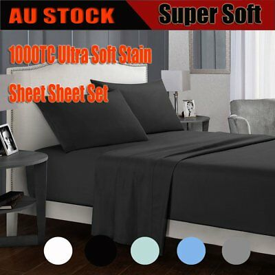 1800TC All Size Ultra SOFT 4pcs Sheet Set Summer Flat Fitted Sheet & Pillowcases