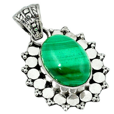 925 Sterling Silver Natural Green Malachite (pilot's Stone) Oval Pendant D13688