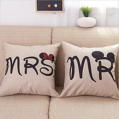 Mr and Mrs Right Painting Cotton Linen Pillow Case Cushion Cover Home Sofa LG