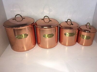 Vintage Copper Color Metal Canister Set