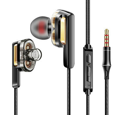 HIFI Earphone Dual Dynamic Driver Headphone Super Bass Stereo Headset With Mic!~