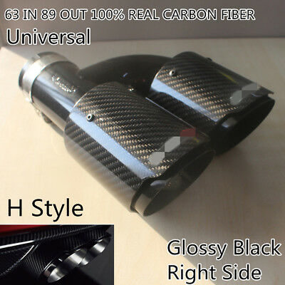 Glossy Real Carbon Fiber Car Dual Pipe Exhaust Pipe Tail Muffler Tip-Right Side