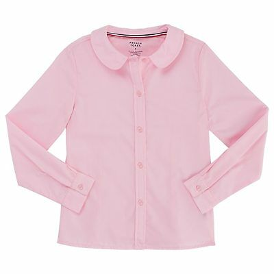 NEW~Girls French Toast School Uniform Long Sleeve Peter Pan Blouse  Pink sz 7