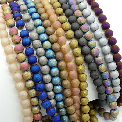 Wholesale frosted glass round beads jewelry bracelet necklace Making 4/6/8/10mm
