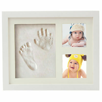 Birthday Gift New Baby Hand & Foot Print Clay Cast Kit & 2 Photo Picture Frame