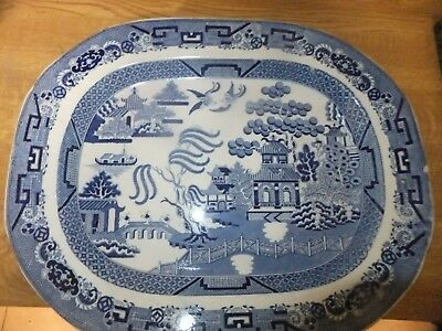Hicks And Meigh 1822 Flow Blue Willow Pattern Meat Plate(Off Mason.quality