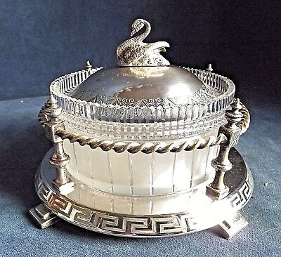 "SUPERB 7"" ~ SILVER Plate & Frosted GLASS ~ Butter / Caviar BOWL ~ c1900"
