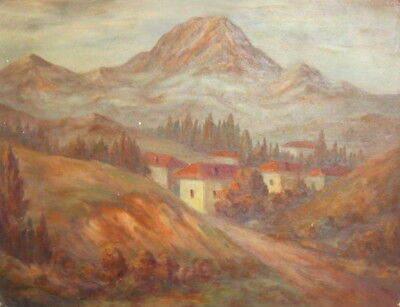 Antique oil painting mountain landscape