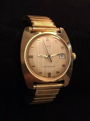 Timex Watch Vintage Mens Gold Tone Mechanical
