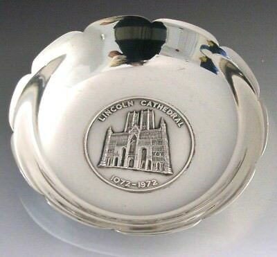 HEAVY 177g SOLID STERLING SILVER COMMEMORATIVE LINCOLN CATHEDRAL DISH BOWL 1972
