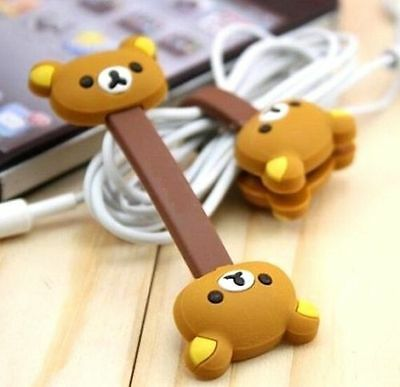 FD4905 Brown Rilakkuma Relax Bear Earphone Cable Bobbin Winder Organizer 1pc ☆