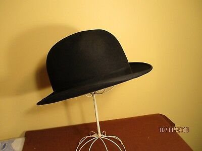 "Vintage black wool derby/bowler hat ""Emerson"" 7-3/8"