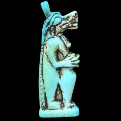 Beautiful Ancient Egyptian Blue Amulet 300 Bc (2)