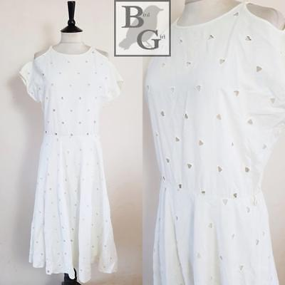 Cutwork Broderie Anglaise 1980S Vintage White Cotton Emo Swing Sun Dress 8-10 S
