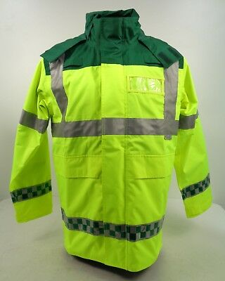 Hi Vis Yellow Green Paramedic Medic EMT Ambulance Waterproof Jacket F3 AB6