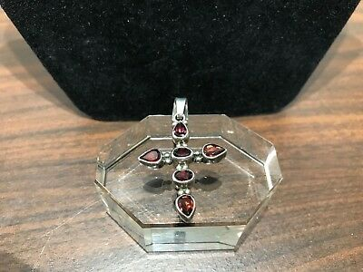 Vintage 925 Sterling Silver Cross Pendant with Faceted Oval and Pear Shaped Alma