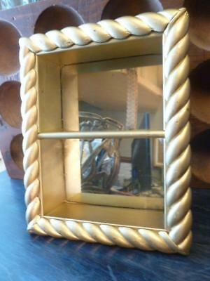 """Vintage Gold Painted Twisted Wood 2 Shelf Mirror Back Wall 8"""" X 10"""" Curio"""