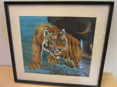 Vintage Chinese/Japanese Original painting on Silk, Framed Stalking Tiger