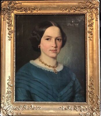 Fine 1850's Signed & Dated European Oil - Portrait Young Lady In Blue Dress