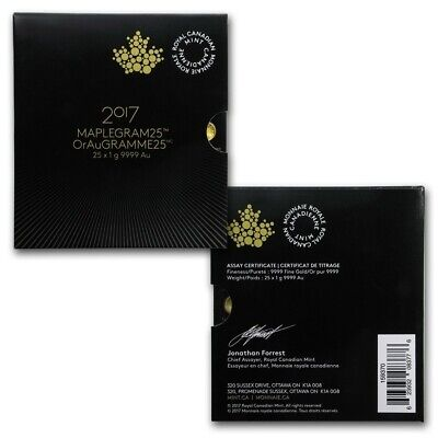 Maple Leaf Maplegram 1 Gramm Gold 2017 Kanada als 25er Pack im Blister