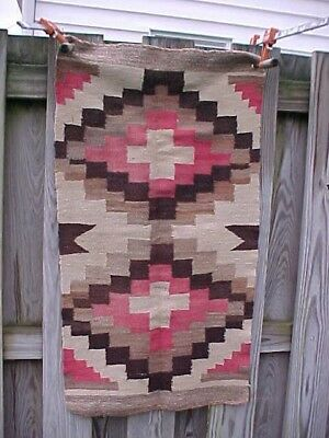 Orig 1920s NAVAJO Hand WOVEN HORSE Saddle BLANKET Red-Brown-42 x 24