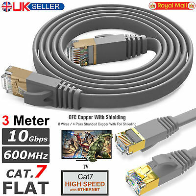 3M RJ45 CAT7 Network SSTP Ethernet LAN High 10Gbps Gigabit Patch Flat Cable Lead
