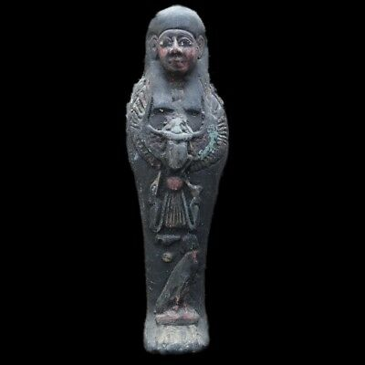 Egyptian Hieroglyphic Shabti, Late Period 664 - 332 Bc Large 19Cm Tall !!!!! (9)