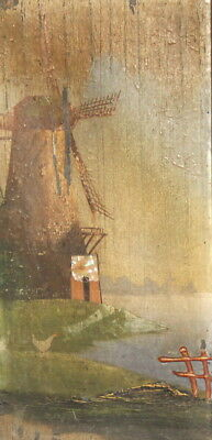 Antique oil painting windmill