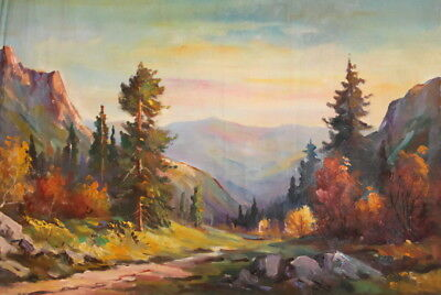Antique european oil painting summer mountain landscape