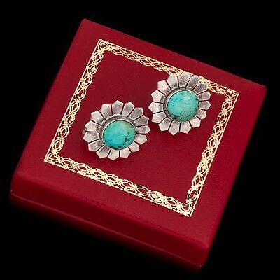 Antique Vintage Art Deco Sterling 925 Silver Colorado Turquoise Cluster Earrings