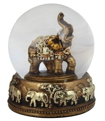 """Gold & Brass Colored Thai Elephant Snow Globe Dome With Figurine Inside 3.25""""H"""