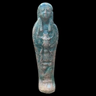 Egyptian Hieroglyphic Shabti, Late Period 664 - 332 Bc Large 18Cm Tall !!!!! (1)