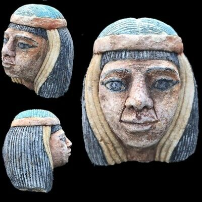 BEAUTIFUL ANCIENT HUGE EGYPTIAN  BUST STATUETTE 300 BC (3) 13cm Tall !!!!!