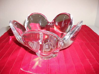 """Orrefors Sweden Signed Crystal Clear Lotus Shape Decor. Bowl, For Any Use,8 X 5"""""""
