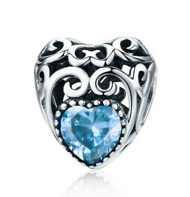 925 Silver March Heart Birthstone Charm UK Seller Free Gift Box