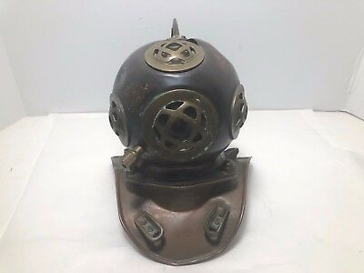 Antique Vintage Copper & Brass Divers Bell Deep Sea Helmet Desktop Miniature