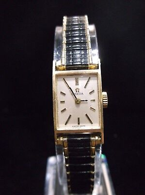Vintage Ladies Omega Watch~14K Yellow Gold w/Black Enameled Speidel Band