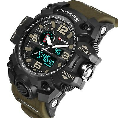 Mens Tactical Sport Army Military Digital Dual Time Alarm Waterproof Wrist Watch